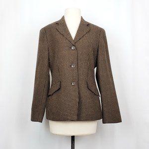 Vintage 90s Talbots Brown Plaid Wool Jacket
